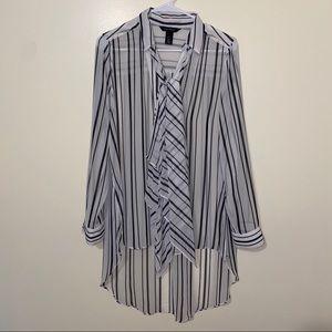 WHBM Sheer Stripe Tunic Size 8